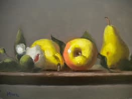Yellow Apple and Yellow Pears, 8x10