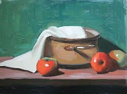 Couscousiere with apples, 12x16