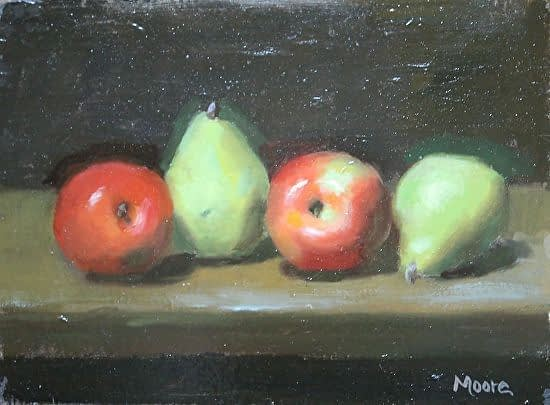 Red apples with pears, 8x10
