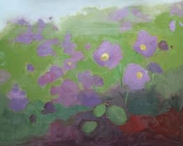 Abstract on Petunias A, 16x20