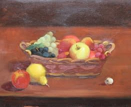 Wright Moore - Oil Painter | Oil Painting of Long Fruit Basket Shot with Canon Camera