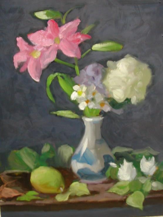 Pink Lilies, Hydrangia, 20x16