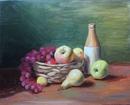 Fruit basket with Bottle, Green Apple, 16x20