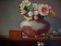 Mexican Vase with Flowers, Box, 16x20