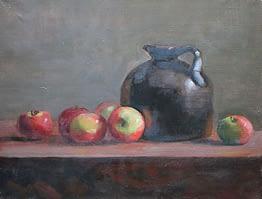 Jug with granny apples, 14x18