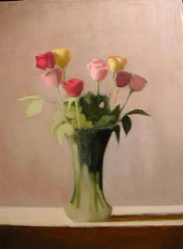 Roses in Tall Glass Vase, 18x14