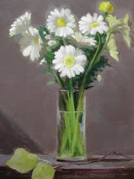 Daisies in Glass Vase, 20x16