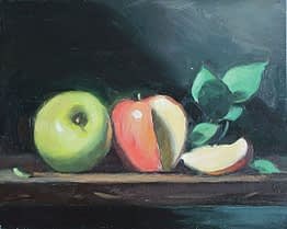 Two Apples, Slice, 8x10
