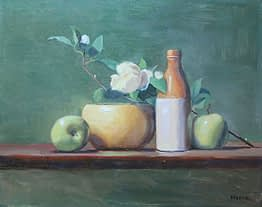 Apple, Blossom, Bowl and Bottle, 16x20