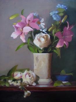 White Roses in Stone Vase, 24x20