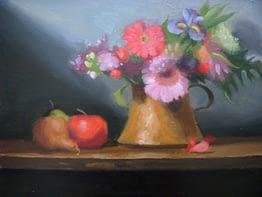 Pink Flowers in Brass Jug, 20x24