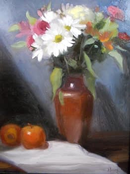 Daisies in Mexican Copper Vase, 18x14