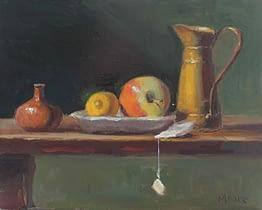 Apple and Small Copper Vessel, 8x10