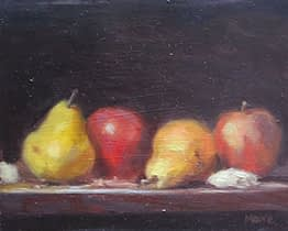 Yellow pears and red apples, 8x10