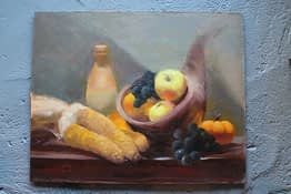 Wright Moore - Oil Painter | Dinner Counter bearing Three Ears of Corn, a Wooden Bowl with Grapes and Apples, and a Loose Pumpkin