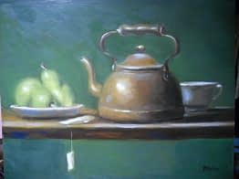 Tea Pot on Green Background, 16x20