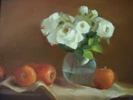White Roses and Apples, 16x20