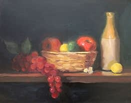 Grapes and Red Apple, 16x20