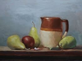 Pears, Plum and Pitcher, 12x16