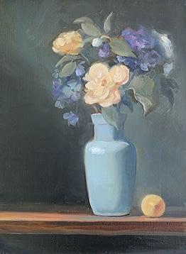 Floral in Blue Vase with Lemon, 16x12